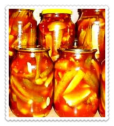 ogurcy s ketchupom chili na zimu