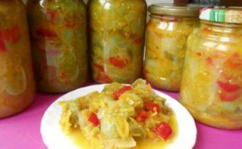 салат из зеленых помидор и сладкого перца на зиму